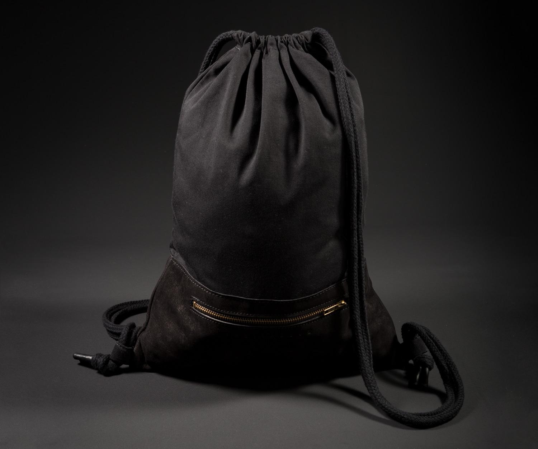 Breitkreuz Turnbeutel aus schwarzem Leder